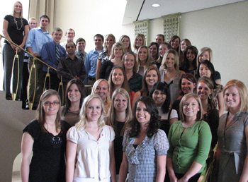 New RSTE students gather for a photo after their pinning ceremony.