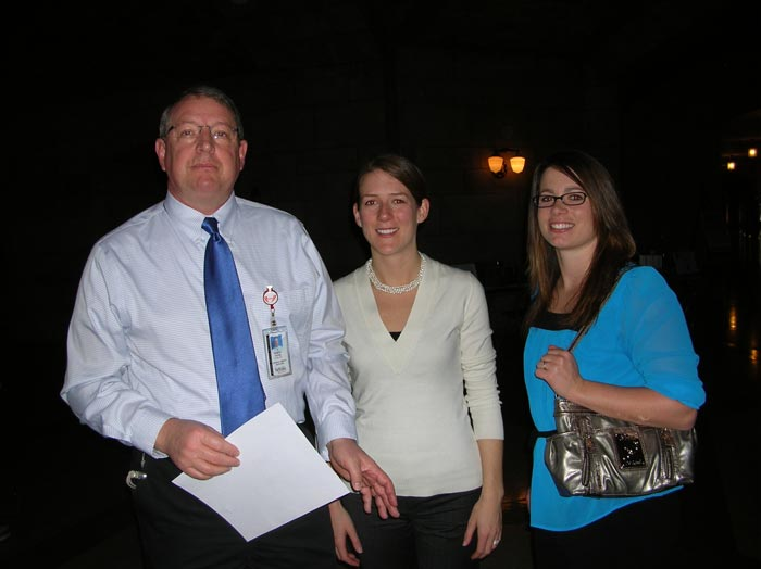 Bob Fuchs (PT faculty) with PT students Andrea Bowen and Airon Seitz.