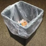 photo of lined trashcan