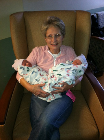 Photo of Katherine Jones and twin grandsons