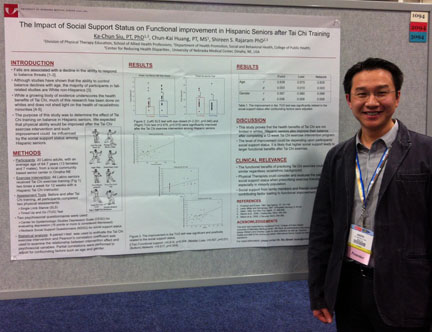Photo of Joseph Siu with poster