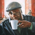 Reggie Sipping Coffee painting by Rachel Mindrup