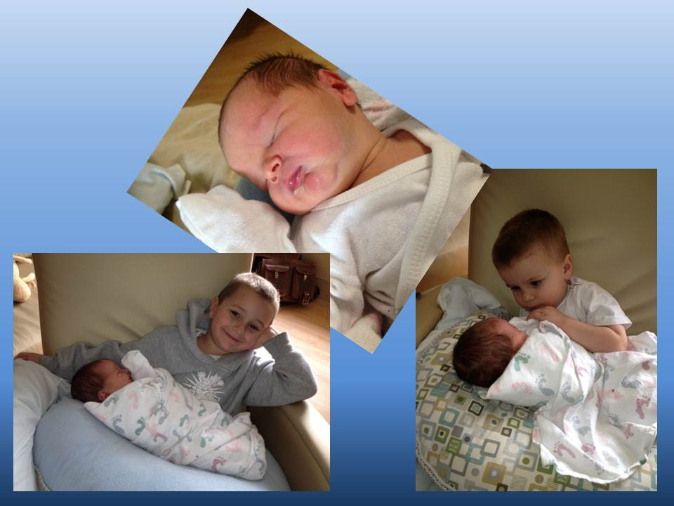 William (top) with brothers, Sam (left) and Luke (right).