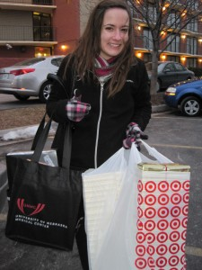 Sarah Payich buying the gifts and sporting a UNMC tote bag, too!