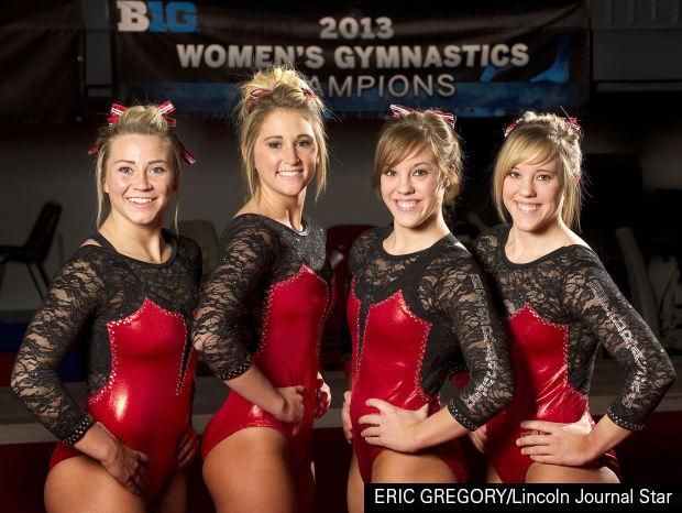 NU women's gymnastics seniors Desire' Stephens, Jessie DeZiel, Jennifer Lauer and Amanda Lauer.