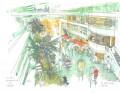 Painting of a hospital in Paris: La Rue Hospitaliere de L'HEGP