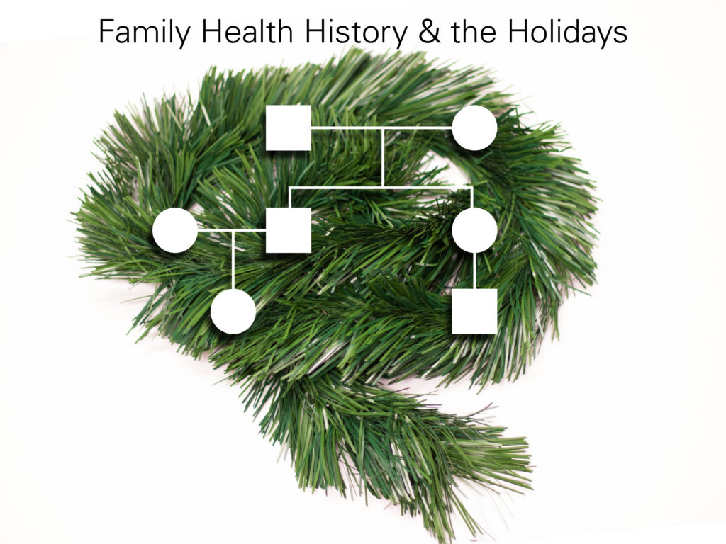 family health history chart on evergreen boughs