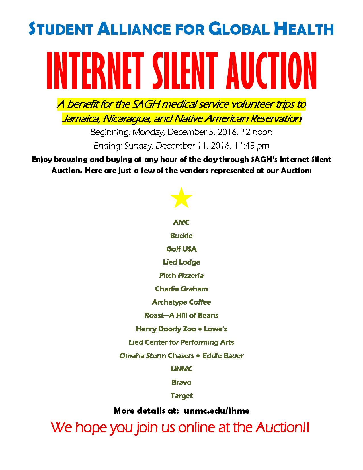 sagh internet silent auction flyer graduate student association