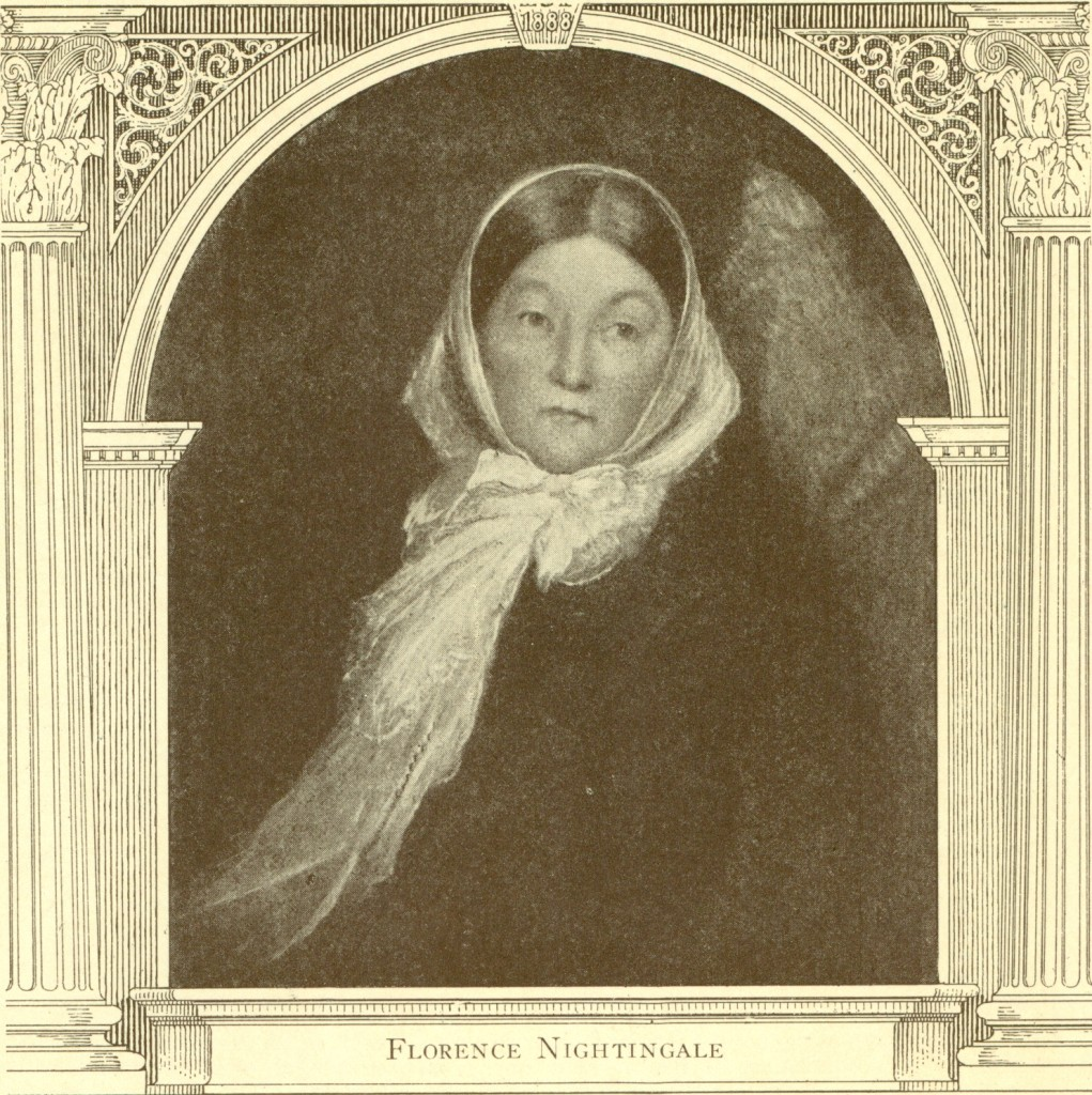 Engraving of Florence Nightingale (from a portrait), cover of the Trained Nurse and Hospital Review, Vol. LXX, No. 4, April 1923.