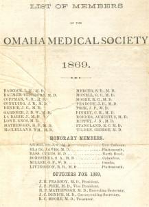Omaha Med Soc Members 1869