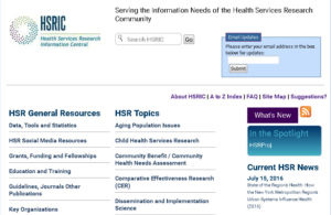 Health Services Research Information Central home page