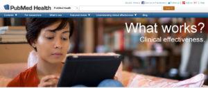screenshot of pubmed health homepage
