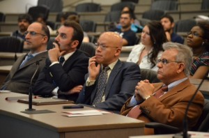 Dr. Mohammad Siahpush, Dr. Sergio Costa, Dr. Terry Huang and COPH Dean Ayman El MohandesSiahpush