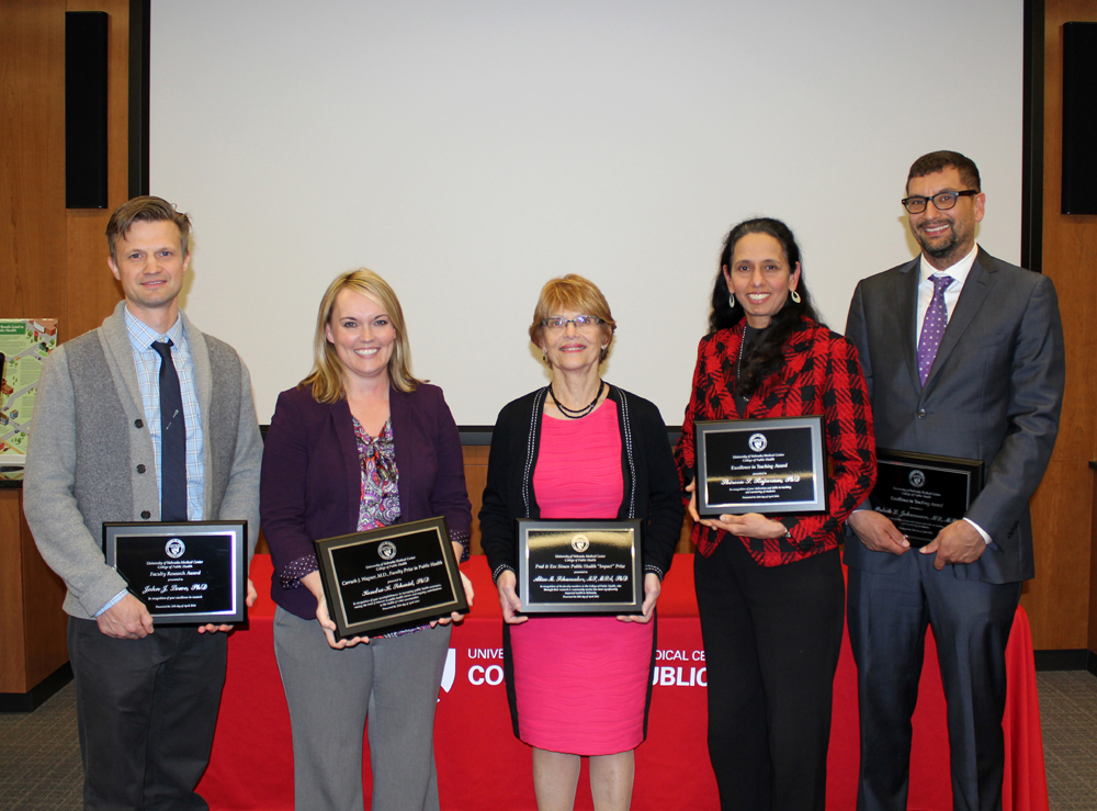 2016 Faculty Award Winners: John Lowe, PhD, Kendra Schmid, PhD, Alice Schumaker, PhD, Shireen Rajaram, PhD and Patrik Johansson, MD, MPH