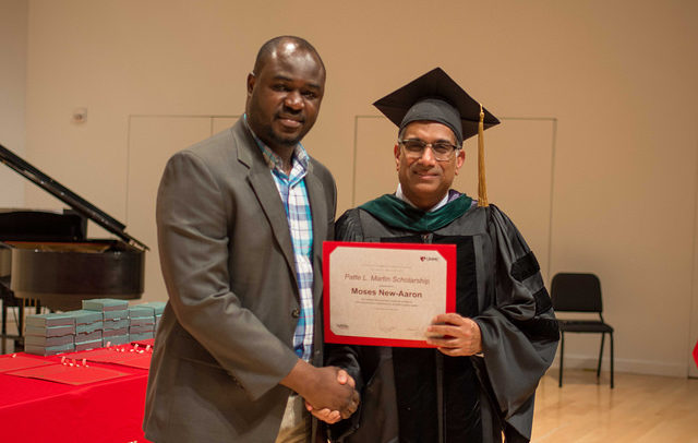 Patte L. Martin Scholarship recipient Moses New-Aaron