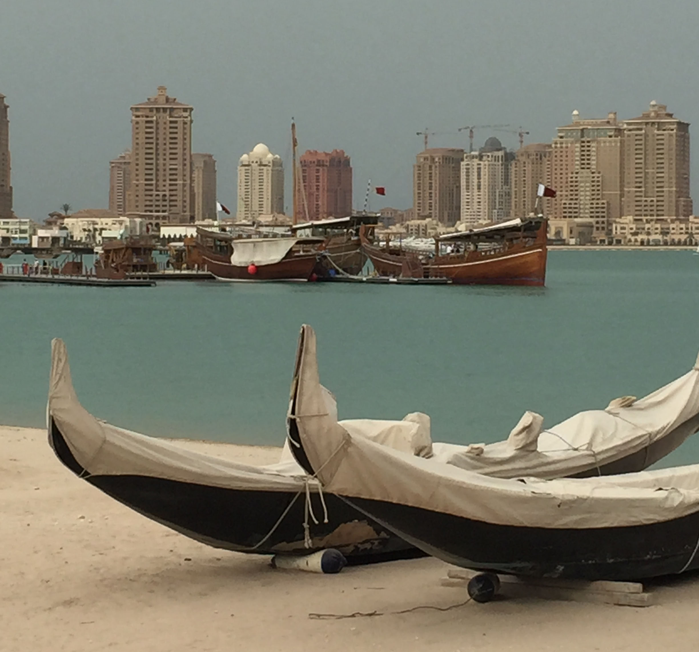 Boats and buildings in Doha, Qatar