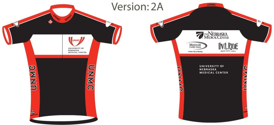 To order, go to http://www.peak1bikestore.com/unmc/ or contact the Center for Healthy Living by March 18. Jerseys are $32, shorts are $55 and cycling bibs are $59.