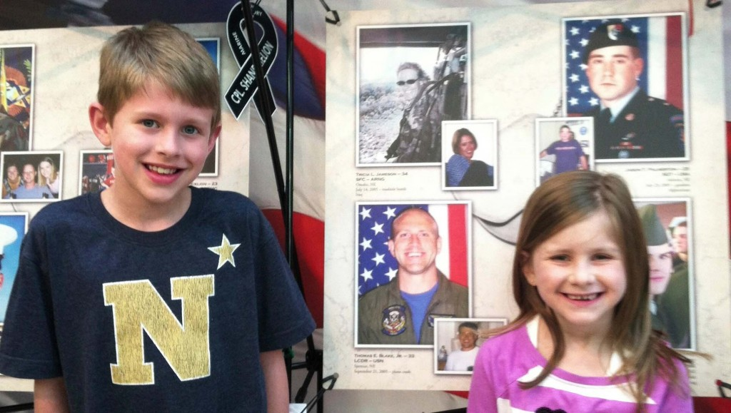 The Blake kids, Tommy and Lily, pictured earlier in front of a display honoring their father, Navy Pilot Lt. Com. Thomas Blake, bottom left. In a coincidence, the other serviceman honored by the College of Nursing, Staff Sgt. Tricia Jameson, is in another of the photos, top left.