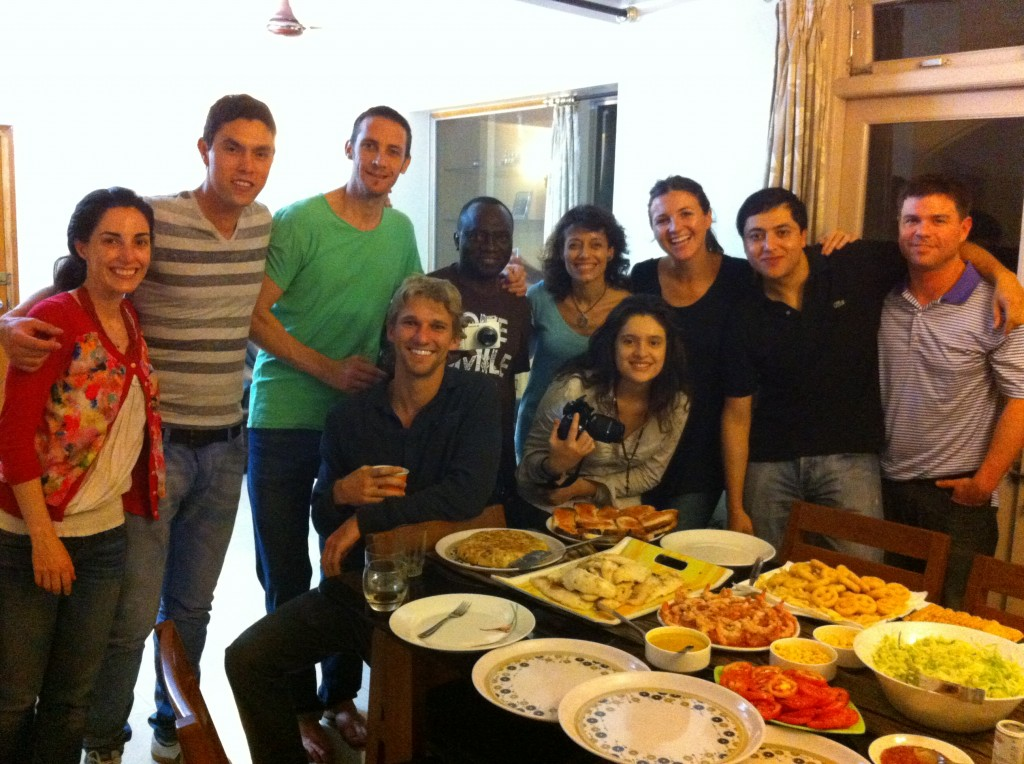 A dinner party with the Guwahati team. Pictured are members from the United States, Puerto Rico, Colombia, Argentina, Spain and the Democratic Republic of Congo.