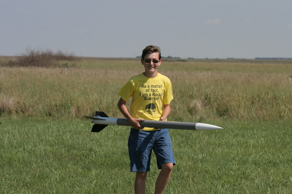Søren Johnson, 15, the best rocket tracker in the club, with his National Association of Rocketry Level 1-approved test rocket.