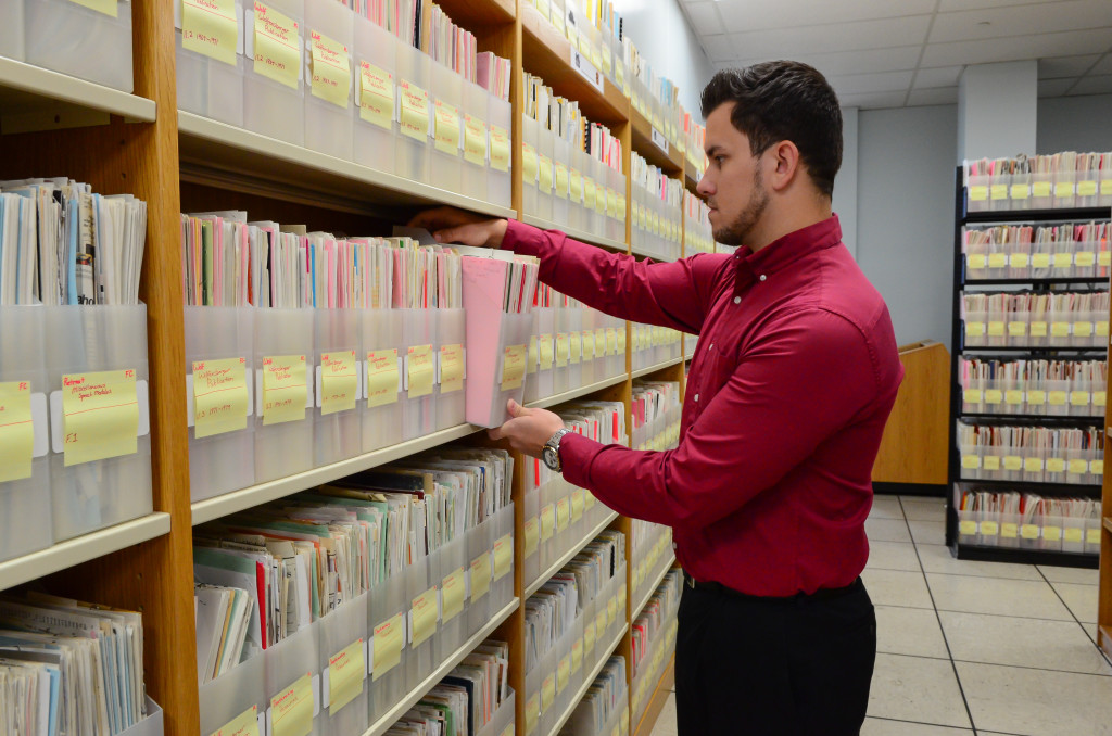 Check out the walls and walls of files. The collection itself takes up 1,584 square feet.