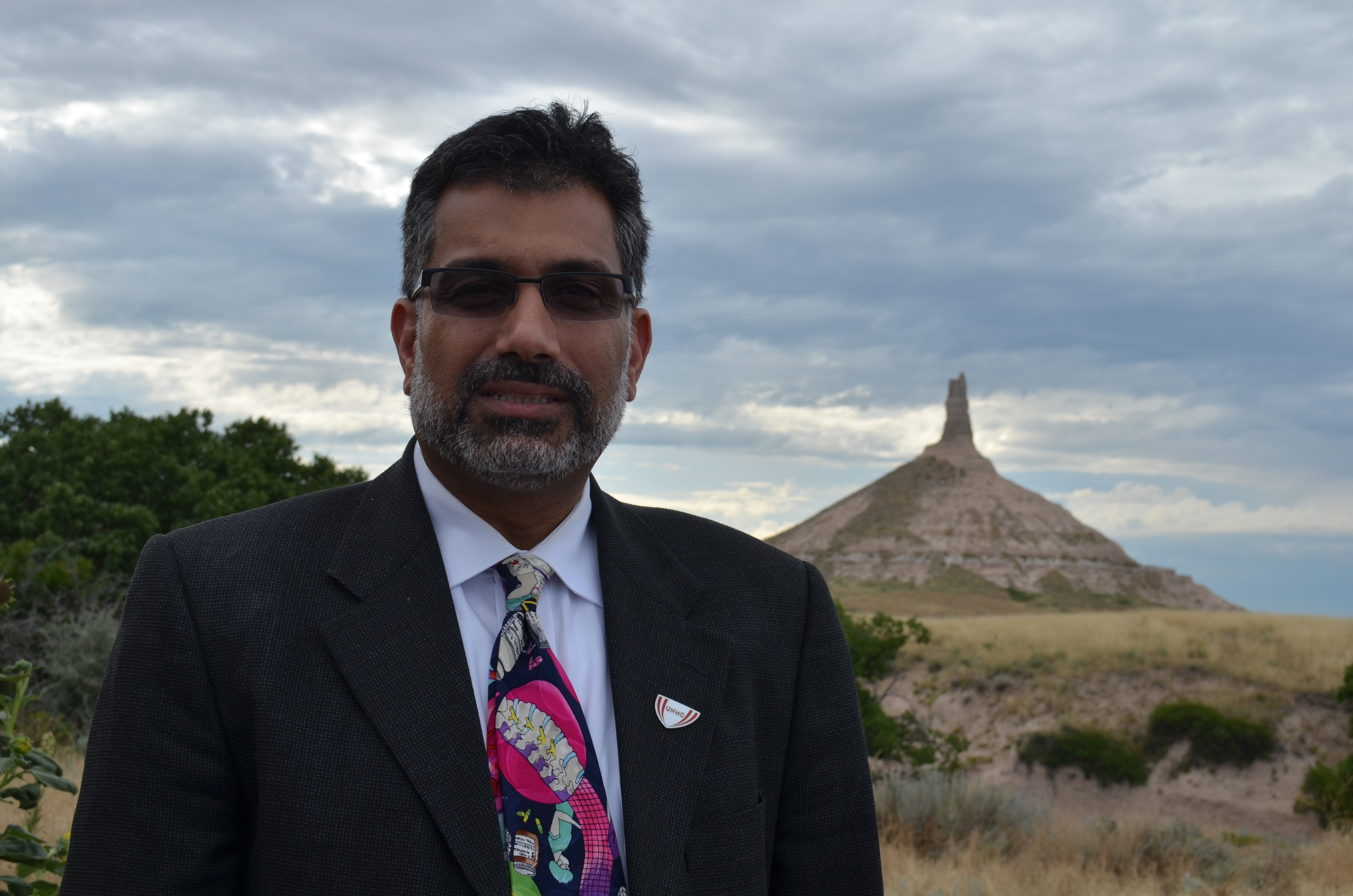 College of Public Health Dean Ali S. Khan, M.D., M.P.H., near Chimney Rock.