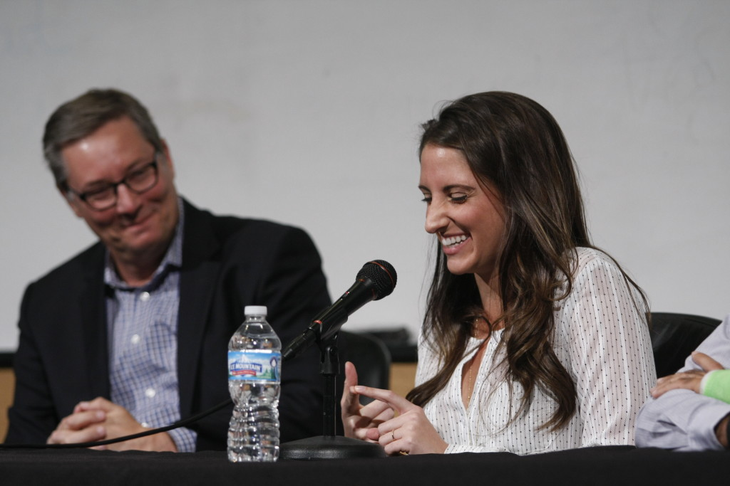 "Lisa Bilek, Ph.D., right, a UNMC alum shared a laugh at the UNeMed panel discussion ""Alternate Careers in Science."" With her is fellow UNMC alum Tyler Martin, M.D."