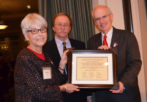 Lutsey and UNMC Chancellor Jeffrey P. Gold, M.D., honored Nancy Armitage.